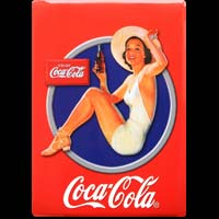 COCA COLA PIN UP- Plaque deco publicitaire  métal 15x21 cm