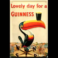 Plaque publicitaire relief métal 20x30 cm LOVELY DAY FOR A GUINNESS - Plaque métal publicitaire GUINNESS