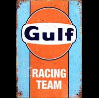 GULF RACING TEAM plaque vintage GULF HUILE ESSENCE STATION SERVICE