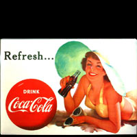 DRINK COCA COLA REFRESH - Plaque publicitaire métal 21x15 cm
