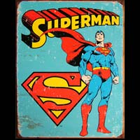 PLAQUE METAL VINTAGE SUPERMAN