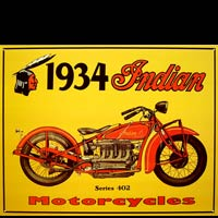 Plaque métal USA INDIAN 1934 SERIES 402  MOTORCYLES