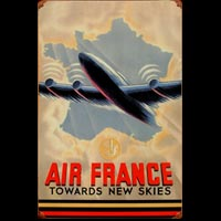 AIR FRANCE TOWARDS NEW SKIES Plaque métal vintage