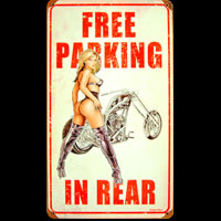 FREE PARKING ONLY PLAQUE METAL BIKERS