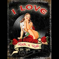 plaque vintage pin up I LOVE R'N'ROLL pin up ACDC van halen slash
