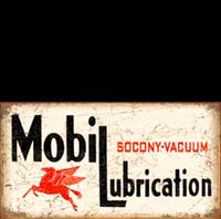 MOBIL LUBRIFICATION PLAQUE METAL VINTAGE