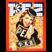 PLAQUE PUBLICITAIRE PIN-UP PEZ DISTRIBUTEUR PEZ PEPPERMINT