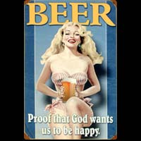 PIN UP BLONDE BEER PLAQUE METAL VINTAGE DECO