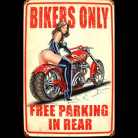BIKERS ONLY FREE PARKING IN REAR idée cadeau fan moto pin-up déco garage
