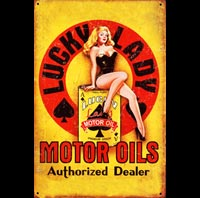 plaque métal déco vintage PIN UP LUCK MOTOR OIL OILS