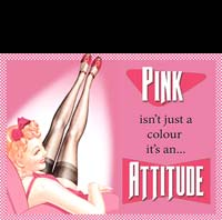 PLAQUE US PIN UP PINK ATTITUDE