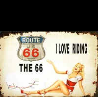 PLAQUE METAL ROUTE 66 PIN UP PINUP