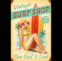 SURFSHOP PIN UP PLAQUE EMAILLEE
