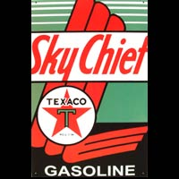 TEXACO SKY CHIEF GASOLINE PLAQUE PUBLICITAIRE GARAGE AUTOMOBILE