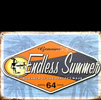 ENDLESS SUMMER 64 KOMBI SURFER plaque vintage pin up I LOVE R'N'ROLL pin up ACDC van halen slash