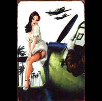 pin up brune warming pilote plaque vintage HELLCAT pin up  jet avion pin up essence fusée rocket motor oil