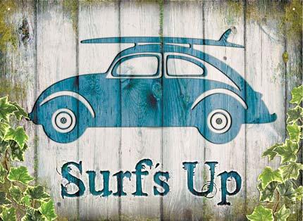 beetle surf up plaque m tal 41x30 cm. Black Bedroom Furniture Sets. Home Design Ideas