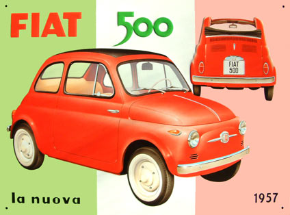 Fiat 500 plaque metal deco for Decoration murale fiat 500