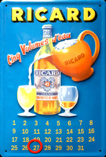 CALENDRIER RICARD ALCOOL MARSEILLE SUD MAQUIS plaque relief métal 20x30 cm plaque relief métal 20x30 cm plaque relief métal 20x30 cm